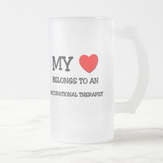 My Heart Belongs To An OCCUPATIONAL THERAPIST Frosted Glass Beer Mug