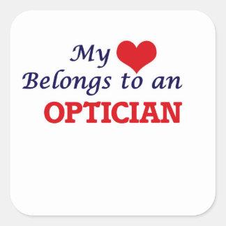 My Heart Belongs to an Optician Square Sticker