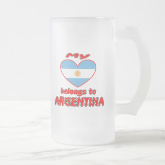 My heart belongs to Argentina Frosted Glass Beer Mug
