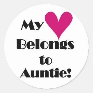 My Heart Belongs to Auntie Classic Round Sticker