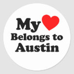 My Heart Belongs to Austin Round Stickers