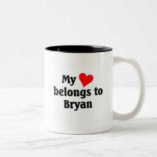 My heart belongs to Bryan Two-Tone Coffee Mug