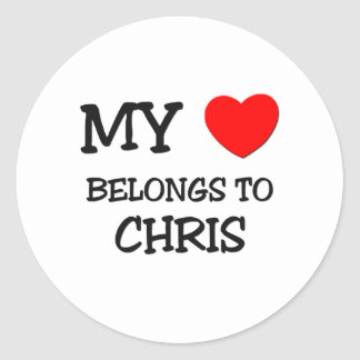 My Heart Belongs To CHRIS Classic Round Sticker