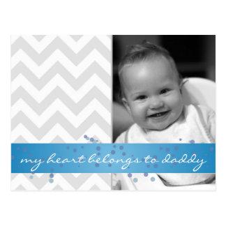 my heart belongs to daddy chevron with blue ribbon postcard