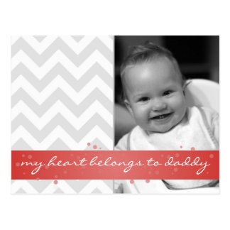 my heart belongs to daddy chevron with red ribbon postcards