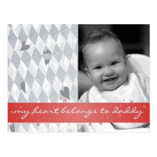 my heart belongs to daddy diamonds with red ribbon postcard