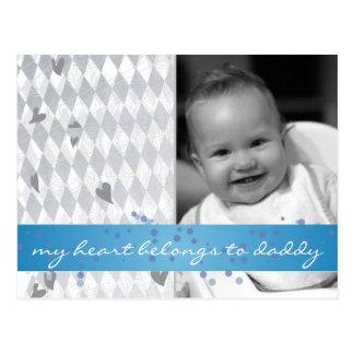 my heart belongs to daddy hearts on diamond patter postcards