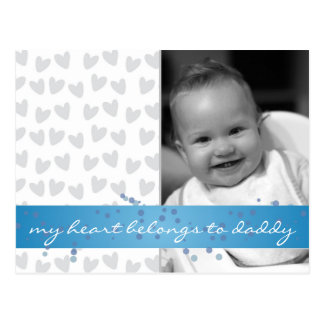 my heart belongs to daddy hearts with blue ribbon post card