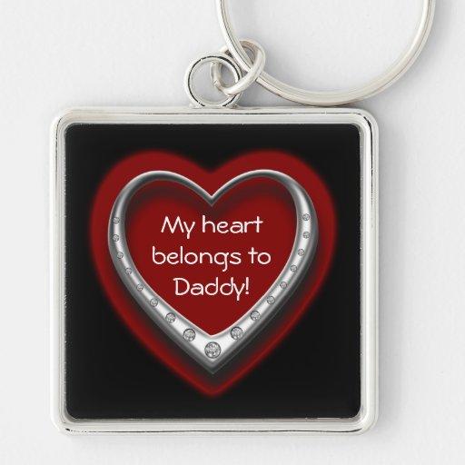 My Heart Belongs to Daddy Silver Keychain