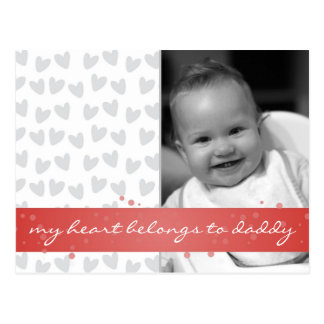 'my heart belongs to daddy' with gray hearts and r post card