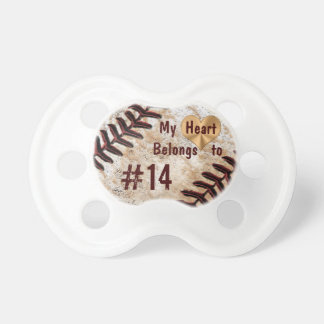 My Heart Belongs to Daddy's Baseball Number Pacifier