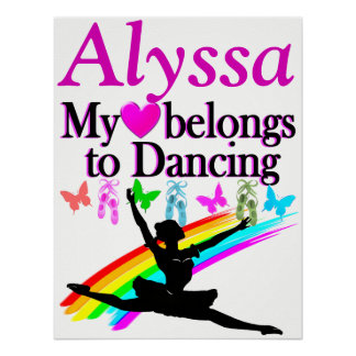 MY HEART BELONGS TO DANCING PERSONALIZED POSTER