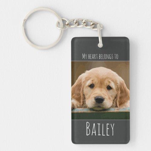 My Heart Belongs To _ Dog Mom _ Dog Pet Photo Keychain