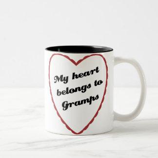 My Heart Belongs to Gramps Two-Tone Coffee Mug