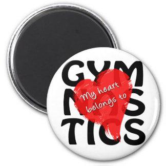 My Heart Belongs To Gymnastics 2 Inch Round Magnet