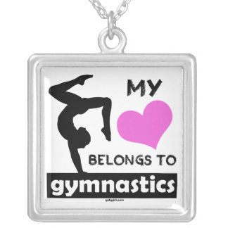 My Heart Belongs to Gymnastics Silver Plated Necklace