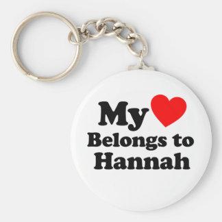 My Heart Belongs to Hannah Basic Round Button Keychain