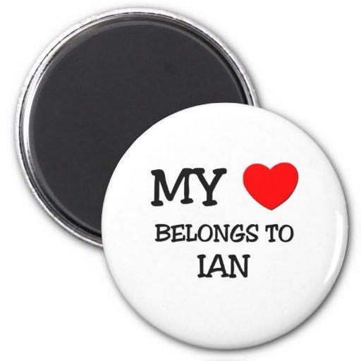My Heart Belongs to Ian 2 Inch Round Magnet
