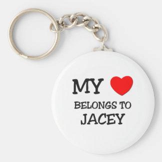 My Heart Belongs To JACEY Basic Round Button Keychain