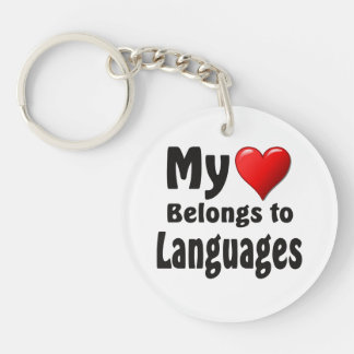 My heart Belongs to Languages Keychain