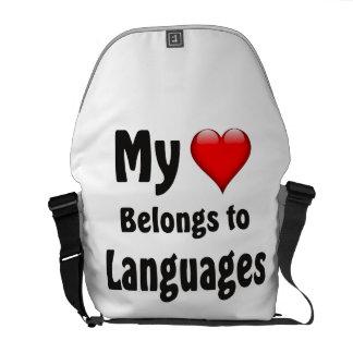 My heart Belongs to Languages Messenger Bag