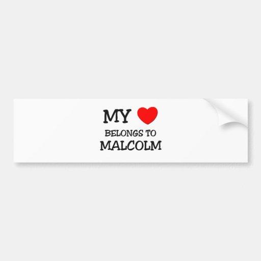 My Heart Belongs to Malcolm Car Bumper Sticker