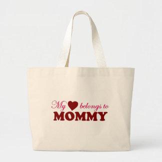 My Heart Belongs to Mommy Tote Bags