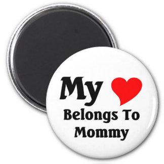 My heart belongs to mommy fridge magnet