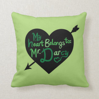 My Heart Belongs to Mr Darcy heart arrow pillow