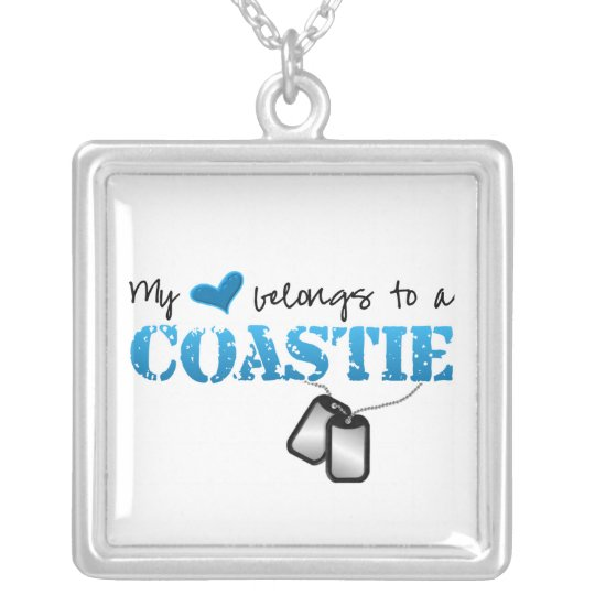 My heart belongs to my Coastie Silver Plated Necklace