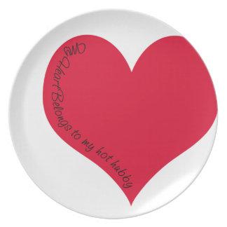 My heart belongs to my hot hubby melamine plate