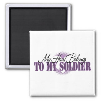 My Heart Belongs To My Soldier 2 Inch Square Magnet