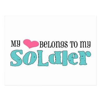 my heart belongs to my soldier post card