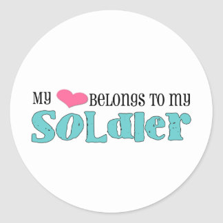 my heart belongs to my soldier round stickers
