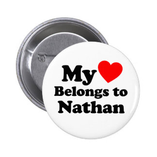 My Heart Belongs to Nathan 2 Inch Round Button