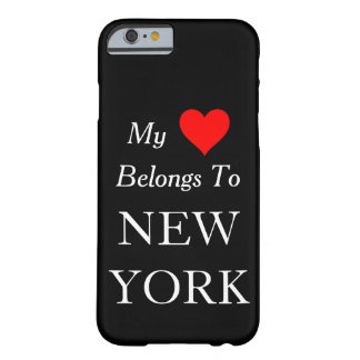 My Heart Belongs To New York Black or Custom Color Barely There iPhone 6 Case