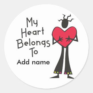 My Heart Belongs to Personalize It Round Sticker
