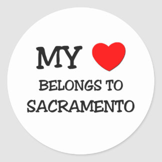 My heart belongs to SACRAMENTO Classic Round Sticker