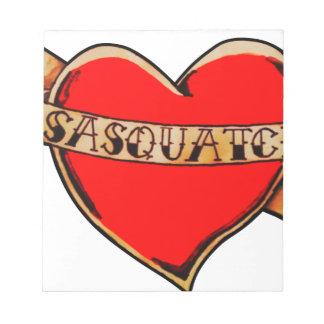My heart belongs to sasquatch note pad