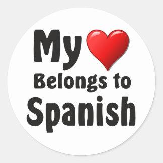 My heart Belongs to Spanish Classic Round Sticker