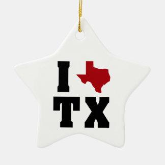 My heart belongs to Texas (sq) Ceramic Ornament