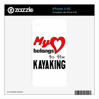 My heart belongs to the Kayaking. iPhone 4S Decal