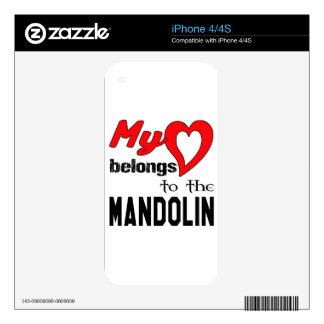 My heart belongs to the mandolin. decals for iPhone 4S