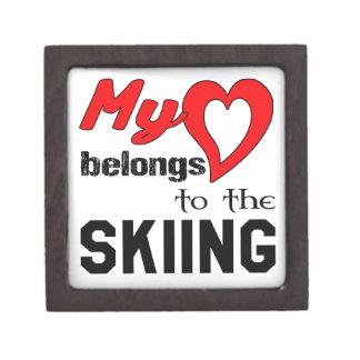 My heart belongs to the Skiing. Premium Trinket Box