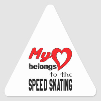 My heart belongs to the Speed Skating Triangle Sticker