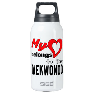 My heart belongs to the Taekwondo. 10 Oz Insulated SIGG Thermos Water Bottle