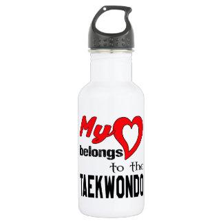 My heart belongs to the Taekwondo. 18oz Water Bottle