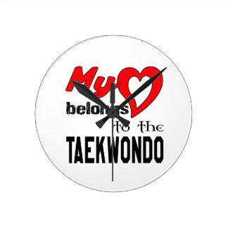 My heart belongs to the Taekwondo. Round Wall Clocks