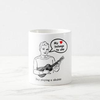 My heart belongs to uke (Ukulele) Classic White Coffee Mug