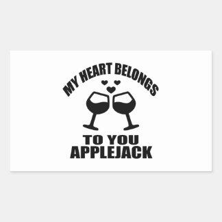 MY HEART BELONGS TO YOU APPLEJACK RECTANGULAR STICKER